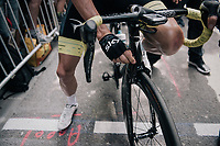 Chris Froome (GBR/SKY) checking his brakes at the start<br /> <br /> 104th Tour de France 2017<br /> Stage 7 - Troyes &rsaquo; Nuits-Saint-Georges (214km)