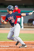 Edgar Michelangeli #16 of AABC follows through on his swing against Babe Ruth at the 2011 Tournament of Stars at the USA Baseball National Training Center on June 26, 2011 in Cary, North Carolina.  Babe Ruth defeated AABC 3-2 in the Gold Medal game. (Brian Westerholt/Four Seam Images)