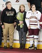 Brian Kickham, Ellen Kickham, Erin Kickham (BC - 3) -  The Boston College Eagles defeated the visiting Boston University Terriers 5-0 on BC's senior night on Thursday, February 19, 2015, at Kelley Rink in Conte Forum in Chestnut Hill, Massachusetts.