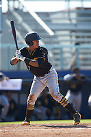 Mikell Granberry (7) of the Bristol Pirates at bat against the Danville Braves at American Legion Post 325 Field on July 1, 2018 in Danville, Virginia. The Braves defeated the Pirates 3-2 in 10 innings. (Brian Westerholt/Four Seam Images)