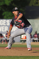 Peoria Chiefs Derian Gonzalez (16) throws during the Midwest League game against the Burlington Bees at Community Field on June 9, 2016 in Burlington, Iowa.  Peoria won 6-4.  (Dennis Hubbard/Four Seam Images)