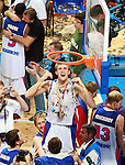 Sep 16, 2007 - Madrid, Spain - NIKITA MORGUNOV is holding ANDREI KIRILENKO of Russia with net after final match between Spain and Russia in Madrid. Russia beat Spain 60:59 and became European basketball champions.  (credit image: © Pedja Milosavljevic/ZUMA Press)