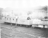 3/4 rear view of Rotary OM and water car #0471.<br /> D&amp;RGW  Chama, NM
