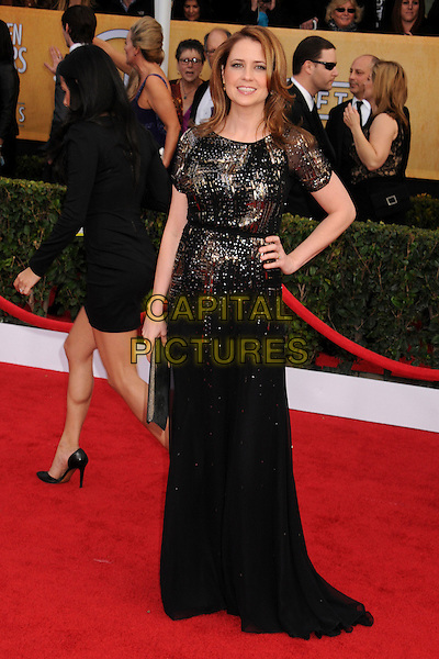 Jenna Fischer.Arrivals at the 19th Annual Screen Actors Guild Awards at the Shrine Auditorium in Los Angeles, California, USA..27th January 2013.SAG SAGs full length dress hand on hip black gold silver sequins sequined .CAP/ADM/BP.©Byron Purvis/AdMedia/Capital Pictures