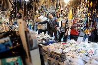 A stall sells electronic products on Apliu Steet in Sham Shui Po district, Hong Kong. Apliu Street is famous for its electronics and accessories stalls. The vendors in this open-air street market sells a wide variety of products at reasonable prices, allowing individuals to trade second hand goods here..
