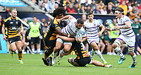 Leicester Tigers' Gareth Owen is tackled by Wasps' Ashley Johnson (left) and Tommy Taylor <br /> <br /> Photographer Stephen White/CameraSport<br /> <br /> Gallagher Premiership - Wasps v Leicester Tigers - Sunday 16th September 2018 - Ricoh Arena - Coventry<br /> <br /> World Copyright &copy; 2018 CameraSport. All rights reserved. 43 Linden Ave. Countesthorpe. Leicester. England. LE8 5PG - Tel: +44 (0) 116 277 4147 - admin@camerasport.com - www.camerasport.com