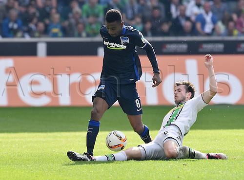 03.04.2016. Monchengladbach, Germany.  Bundesliga Football. Borussia Monchengladbach versus Hertha Berlin.  Salomon Kalou (Hertha BSC)tackled by Havard Nordtveit (Borussia Moenchengladbach)