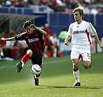 17 April 2004: Joselito Vaca (left) tries to get past Bobby Convey (15) in the first half. The MetroStars defeated DC United 3-2 at Giants Stadium in East Rutherford, NJ during a regular season Major League Soccer game..