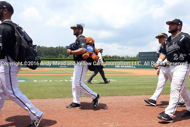 04 June 2016: Nova Southeastern's Casey Gibson. The Nova Southeastern University Sharks played the Millersville University Marauders in Game 14 of the 2016 NCAA Division II College World Series  at Coleman Field at the USA Baseball National Training Complex in Cary, North Carolina. Nova Southeastern won the game 8-6 and clinched the NCAA Division II Baseball Championship.