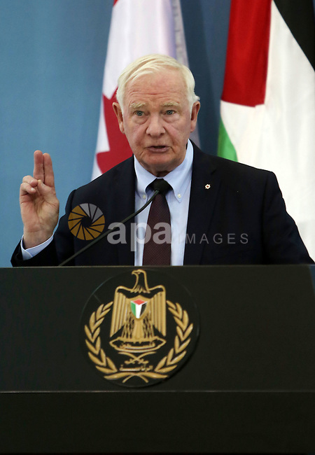 Canada's Governor General David Johnston speaks during a joint news conference with Palestinian President Mahmoud Abbas in the West Bank city of Ramallah November 4, 2016. . Photo by Shadi Hatem