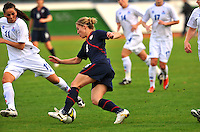 USA's Amy Rodriguez maneuvers around Iceland midfielder, Sara Gunnarsdottir.  The USWNT defeated Iceland (2-0) at Vila Real Sto. Antonio in their opener of the 2010 Algarve Cup on February 24, 2010.