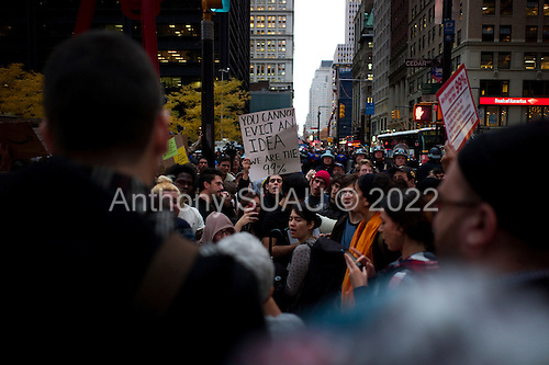 New York, New York<br /> November 15, 2011<br /> <br /> After the police clear Zuccotti Park many of the evicted &quot;Occupy Wall Street&quot; protesters, reconvened in Foley Square and march to  Juan Pablo Duarte Square at Canal and 6th Ave.<br /> <br /> They return before noon to Zuccotti Park to wait a court order to reenter the park. Small scuffles break out between the police and the protesters resulting in a few arrests.