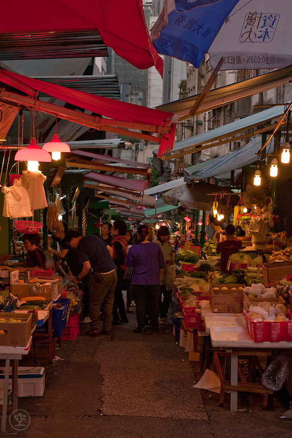 A market street in the early evening, Hong Kong