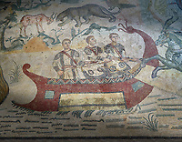 Fishermen Roman mosaic, room 24, at the Villa Romana del Casale, Sicily ,  circa the first quarter of the 4th century AD. Sicily, Italy. A UNESCO World Heritage Site.