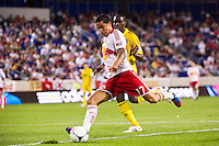 Tim Cahill (17) of the New York Red Bulls. The New York Red Bulls defeated the Columbus Crew 3-1 during a Major League Soccer (MLS) match at Red Bull Arena in Harrison, NJ, on September 15, 2012.