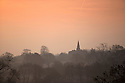 05/12/16<br /> <br /> Following another freezing night, the spire of St James Church is surrounded by frosty fields in the Derbyshire village of Idridgehay.<br /> <br /> All Rights Reserved F Stop Press Ltd. (0)1773 550665   www.fstoppress.com