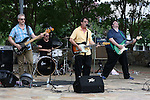 The Banana Seats held a concert in Southern Village in Chapel Hill, North Carolina on Sunday, August 17, 2014. Lead guitar Mike Nicholson, rhythm guitar Tom Collin-Meltzer, bass FJ Ventre, drums Jackson McGee.