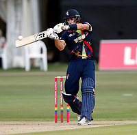 Joe Denly hits a mighty six for Kent during the Vitality Blast T20 game between Kent Spitfires and Sussex Sharks at the St Lawrence Ground, Canterbury, on Fri July 27, 2018