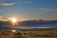 Midnight sun along the Nigu River, Brooks Range, Arctic, National Petroleum Reserve, Alaska.