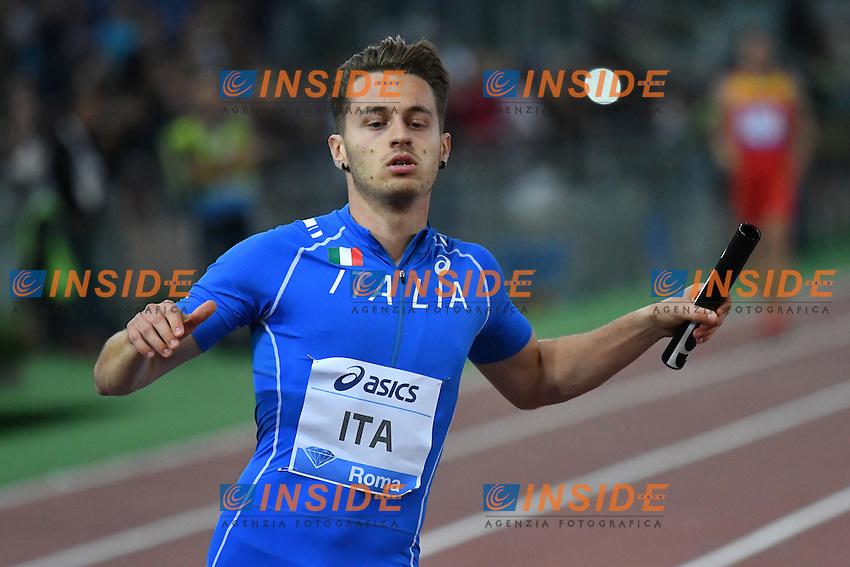 Filippo TORTU ITA 4x100m Relay Men <br /> Roma 02-06-2016 Stadio Olimpico <br /> IAAF Diamond League Golden Gala <br /> Atletica Leggera<br /> Foto Andrea Staccioli / Insidefoto