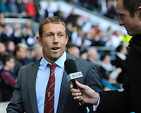 Jonny Wilkinson is interviewed by 2003 World Cup winning teammate Will Greenwood during the QBE Autumn International match for the Cook Cup between England and Australia at Twickenham on Saturday 2nd November 2013 (Photo by Rob Munro)