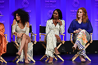 "HOLLYWOOD, CA - MARCH 23: Indya Moore, Dominique Jackson and Our Lady J. at PaleyFest 2019 for FX's ""Pose"" panel at the Dolby Theatre on March 23, 2019 in Hollywood, California. (Photo by Vince Bucci/FX/PictureGroup)"