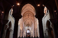OISE, FRANCE - OCTOBER 26: View of the nave from the choir of the Cathedral Notre-Dame de Senlis on October 26, 2008 in Oise, France. The cathedral was built between 1153 and 1191. (Photo by Manuel Cohen)