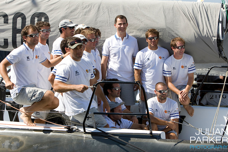 Crown Prince Felipe of Spain attends of The Copa Del Rey sailing regatta in Palma, Mallorca, on board  CAM on the first day of racing.