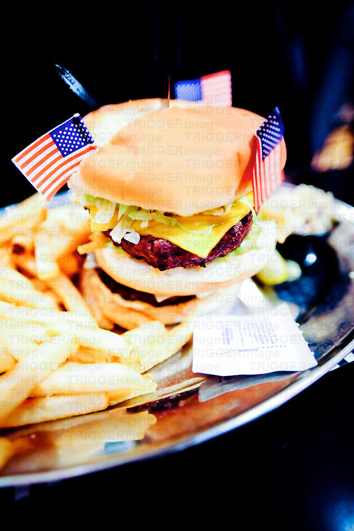 Big burger meal with USA flags