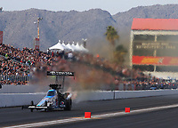 Feb 24, 2019; Chandler, AZ, USA; NHRA top fuel driver Antron Brown during the Arizona Nationals at Wild Horse Pass Motorsports Park. Mandatory Credit: Mark J. Rebilas-USA TODAY Sports