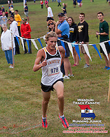 With 2012 Lafayette senior All-Staters Derek Legenzoff and Jordan West watching, Lafayette sophomore Dylan Quisenberry sprints to a 2nd place finish in the Suburban West Cross Country Championships, Saturday, October 12, 2013, in House Springs, Missouri.