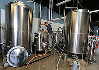 August 8, 2016. I Vista, CA. USA.   Toolbox Brewing's Garret Bishop Mashing in there brew.   Photos by Jamie Scott Lytle. Copyright.