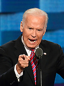 United States Vice President Joe Biden makes remarks during the third session of the 2016 Democratic National Convention at the Wells Fargo Center in Philadelphia, Pennsylvania on Wednesday, July 27, 2016.<br /> Credit: Ron Sachs / CNP<br /> (RESTRICTION: NO New York or New Jersey Newspapers or newspapers within a 75 mile radius of New York City)