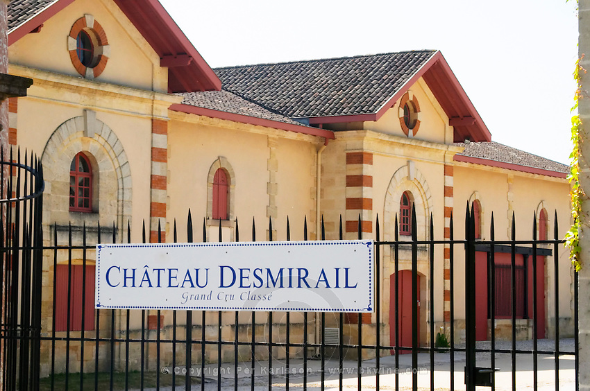 Chateau Desmirail, 3e third Cru Classe in Margaux, Medoc, Bordeaux, winery building sign and fence Margaux Medoc Bordeaux Gironde Aquitaine France