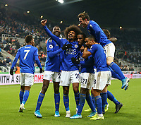 1st January 2020; St James Park, Newcastle, Tyne and Wear, England; English Premier League Football, Newcastle United versus Leicester City; Hamza Choudhury of Leicester City celebrates with Youri Tielemans Ricardo Pereira and Wilfred Ndidi of Leicester City after he scores in the 87th minute to make it 0-3 - Strictly Editorial Use Only. No use with unauthorized audio, video, data, fixture lists, club/league logos or 'live' services. Online in-match use limited to 120 images, no video emulation. No use in betting, games or single club/league/player publications