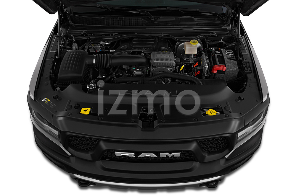 Car stock 2019 Ram 1500 Rebel 4 Door Pick Up engine high angle detail view