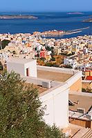 Ermoupolis or Hermoupolis harbour & port , Syros [ ????? ] , Greek Cyclades Islands