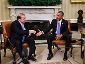 United States President Barack Obama (R) shakes hands with Prime Minister Nawaz Sharif (L) of Pakistan during a bilateral meeting in the Oval Office of the White House, in Washington, DC, October 22, 2015.<br /> Credit: Aude Guerrucci / Pool via CNP