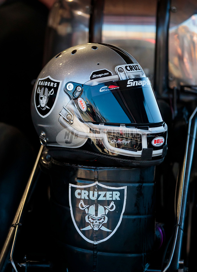 Jul 27, 2019; Sonoma, CA, USA; Detailed view of the Raiders themed helmet of NHRA funny car driver Cruz Pedregon during qualifying for the Sonoma Nationals at Sonoma Raceway. Mandatory Credit: Mark J. Rebilas-USA TODAY Sports