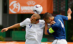 Soccer, UEFA U-17.France Vs. England.Hallam Hope, left and Raphael Calvet.Indjija, 03.05.2011..foto: Srdjan Stevanovic