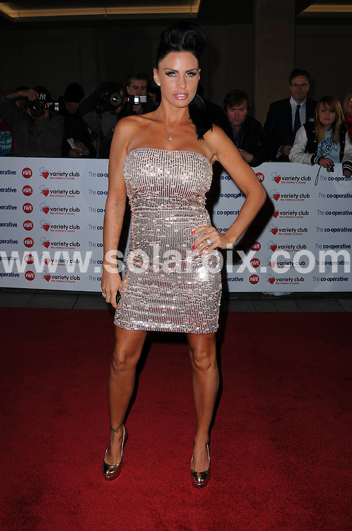 **ALL ROUND PICTURES FROM SOLARPIX.COM**                                             **WORLDWIDE SYNDICATION RIGHTS**                                                                                  Caption: attends the Variety Club Showbiz Awards at Grosvenor House, London, UK. 14 November 2010                                                              This pic: Katie Price                                                   JOB REF: 12478 MSR       DATE: 14_11_2010                                                           **MUST CREDIT SOLARPIX.COM OR DOUBLE FEE WILL BE CHARGED**                                                                      **MUST AGREE FEE BEFORE ONLINE USAGE**                               **CALL US ON: +34 952 811 768 or LOW RATE FROM UK 0844 617 7637**