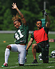 Buster Skrine #41, New York Jets cornerback, grins as he stretches during OTAs held at the Atlantic Health Jets Training Center in Florham Park, NJ on Tuesday, May 29, 2018.