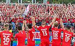 10.08.2019, Donaustadion, Ulm, GER, DFB Pokal, SSV Ulm 1846 Fussball vs 1. FC Heidenheim, <br /> DFL REGULATIONS PROHIBIT ANY USE OF PHOTOGRAPHS AS IMAGE SEQUENCES AND/OR QUASI-VIDEO, <br /> im Bild nach Spielende feiern die Heidenheimer Spieler den Sieg, in der Bildmitte der Torschuetze zum 0:1, Robert Leipertz (Heidenheim, #13)<br /> <br /> Foto © nordphoto / Hafner