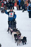 Sven Haltman team leaves the start line during the restart day of Iditarod 2009 in Willow, Alaska