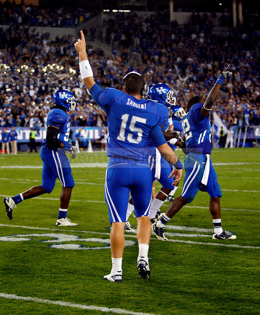 Tyler Sargent celebrates after UK recoverd posseion of the ball in the final minute in the second half of UK's 31-28 win over  South Carolina football on Saturday, Oct. 16, 2010. Photo by Britney McIntosh | Staff