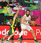07.09.2014. Barcelona, Spain. 2014 FIBA Basketball World Cup, round of 16. Picture show C. Frank and S. Vasiliauskas  in action during game between New Zealand   v  Lithuania at Palau St. Jordi