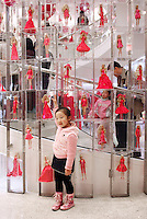 Young girls have their pictures taken at the Barbie glagship store in Shanghai, China. The six story store was opened in March this year to mark the 50th birthday of Barbie..04 Apr 2009.