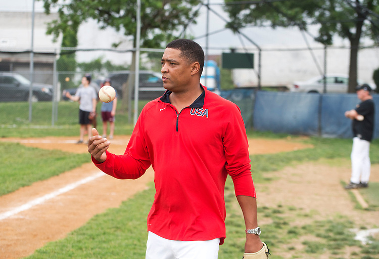 UNITED STATES - MAY 23: Rep. Cedric Richmond, D-La., participates in a democratic congressional baseball practice in Northeast. (Photo By Tom Williams/CQ Roll Call)