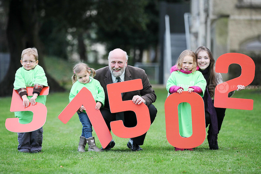 """NO REPRO FEE. 18/11/2010. METEOR CHRISTMAS TEXT APPEAL. Actress and Barnardos Ambassador Sarah Bolger and Barnardos CEO Fergus Finlay are pictured with Thomas Donoghue 3, Ruby Glynn 2 and Alice Davies 3 in the grounds of IMMA to launch the Meteor Christmas text appeal to raise urgently needed funds for Barnardos this Christmas. Meteor customers can donate EUR2 with every cent going to the charity, by simply texting """"Barnardos"""" tp 57502. Picture James Horan/Collins Photos"""