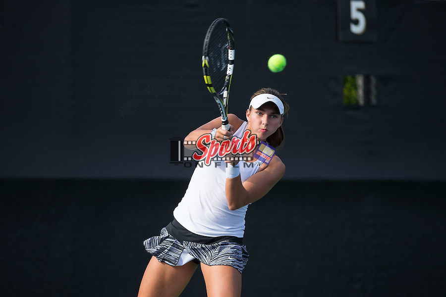 Anna Ulyashchenko of the Wake Forest Demon Deacons during singles action in the Wake Forest Invitational at the Wake Forest Tennis Center on October 9, 2015 in Winston-Salem, North Carolina.  (Brian Westerholt/Sports On Film)